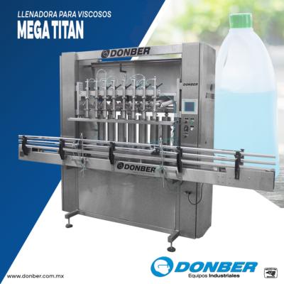 envasadora de 5L para productos viscosos, de 8 boquillas , modelo mega titan, marca Donber
