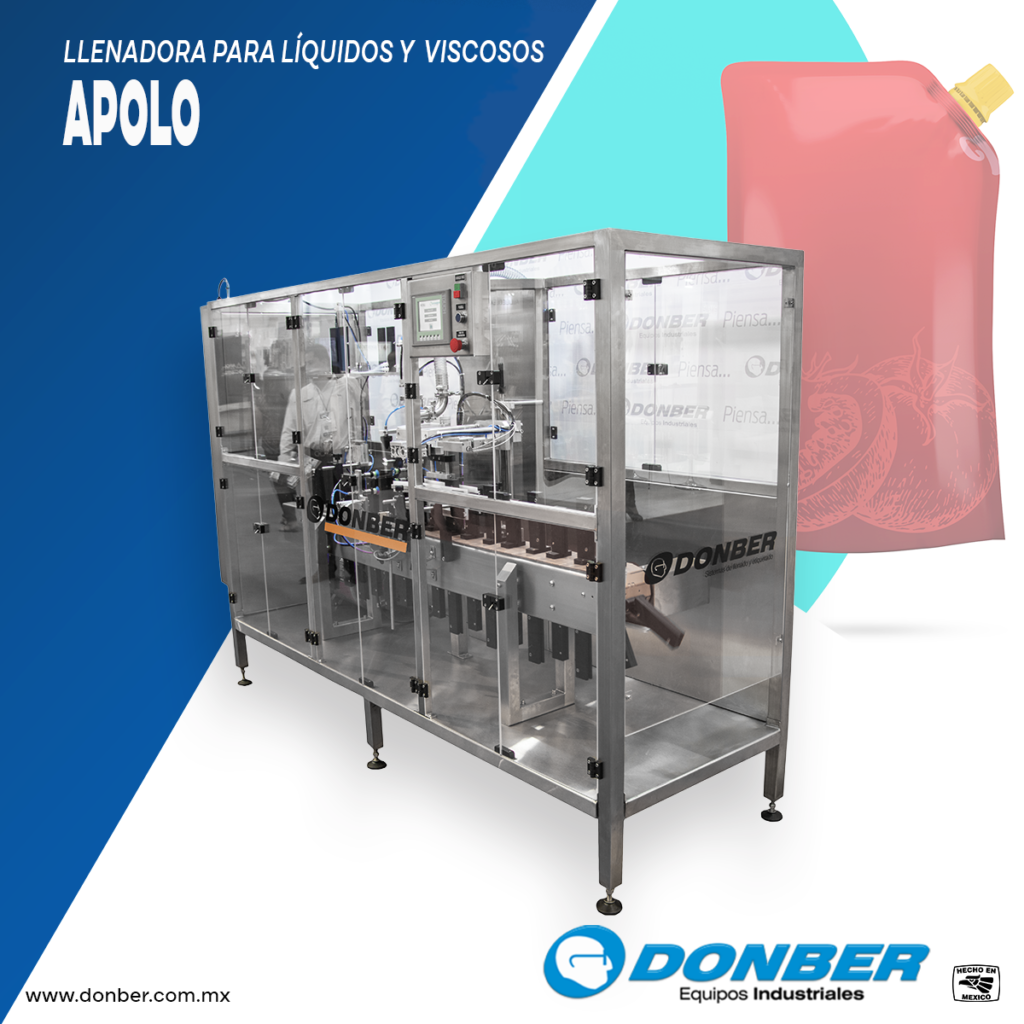 Llenadora para productos liquidos o viscosos en bolsa tipo Pouch modelo Apolo, marca Donber