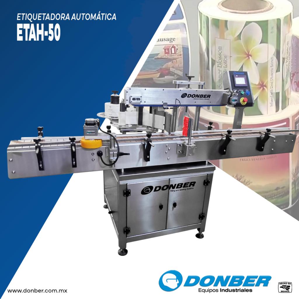 Etiquetadora automática para envases cuadrados y redondos, Modelo ETAH-50 , Marca Donber