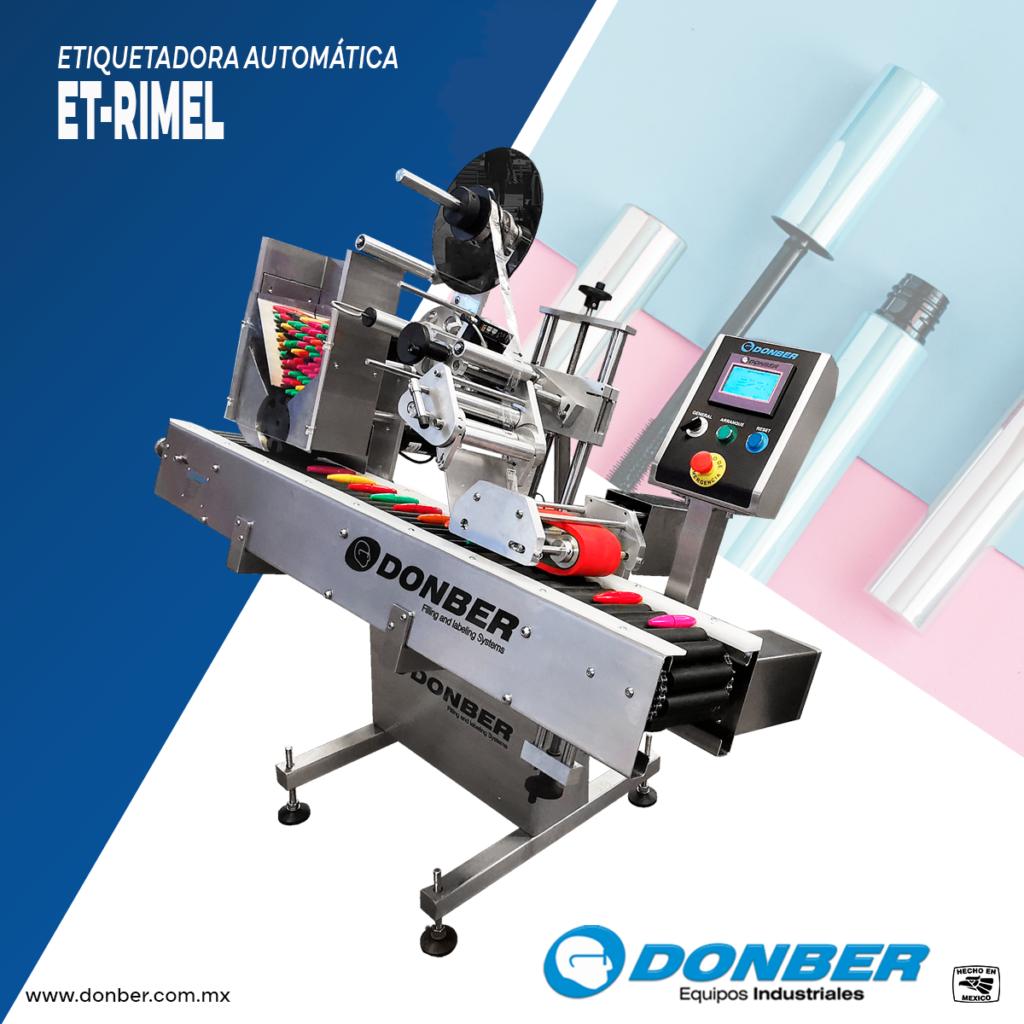 Maquinaria para la industria cosmética - et rimel - Marca Donber- Etiquetadora para rimel