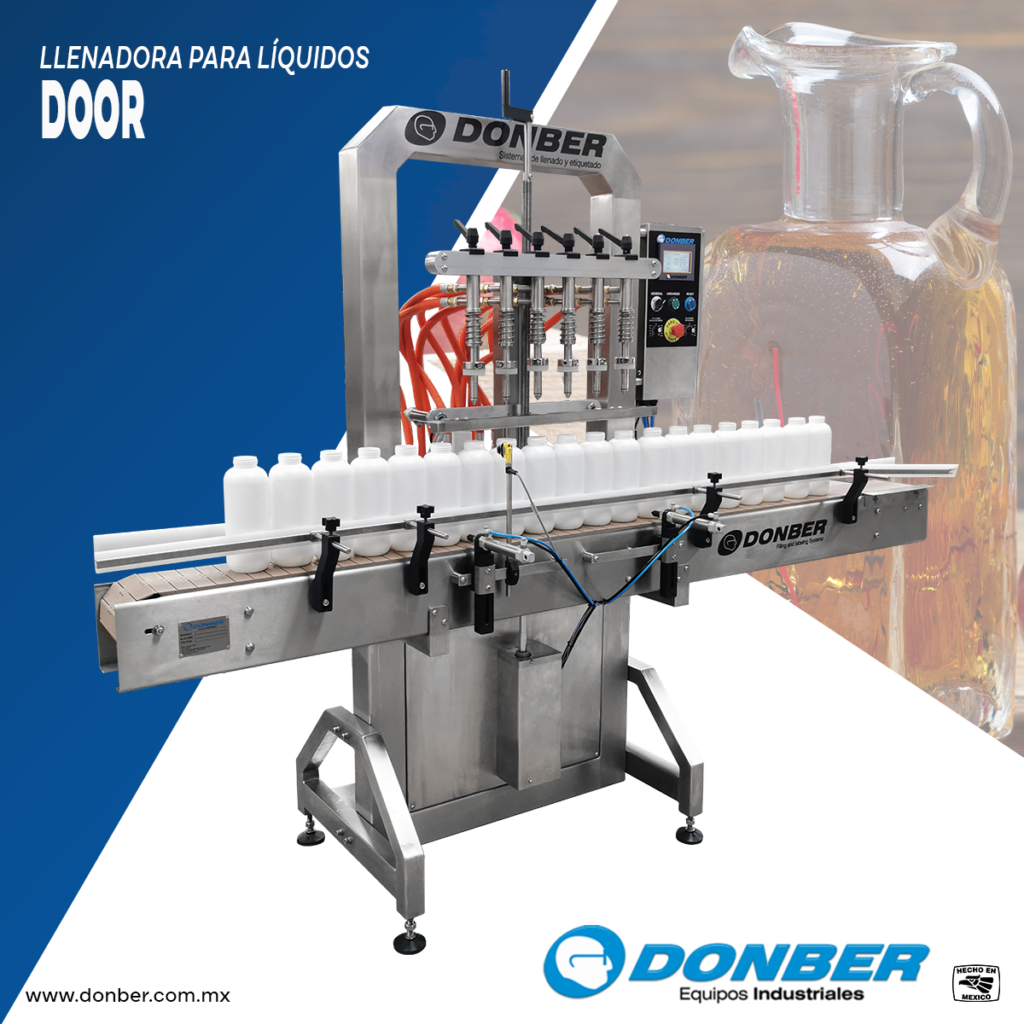 Envasadora para productos líquidos de 6 boquillas , modelo Door, marca Donber Equipos Industriales