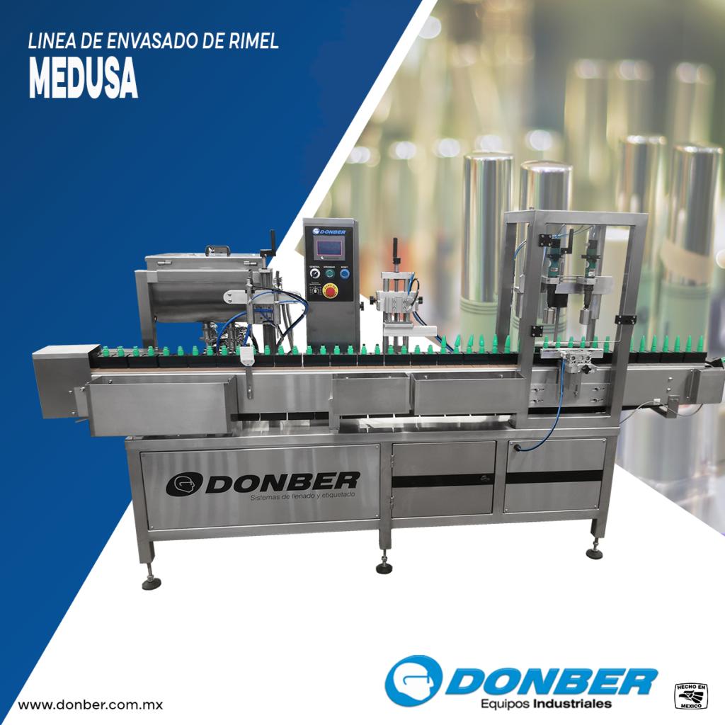 Linea de envasado para rimel, modelo Medusa, marca Donber equipos industriales